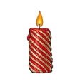 Burning red and gold colored Christmas candle vector image