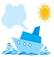 Cartoon ship on the sea vector image