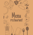 menu rastaurant with line icon vector image
