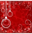 red Christmas background with clock vector image