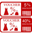 5 and 40 discount vouchers vector image