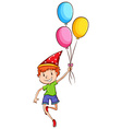 A happy kid with balloons vector image vector image