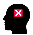 A silhouette of a head with a closed sign vector image vector image