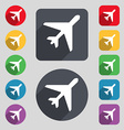 airplane icon sign A set of 12 colored buttons and vector image vector image