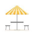 beach equipment parasol and chairs summer vector image