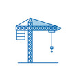 Blue color shading silhouette crane machinery for vector image