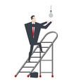 businessman on stepladder is changing light bulb vector image