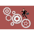 Businessman running on mechanism system vector image vector image