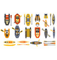 canoe sport equipment set vector image