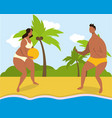 cartoon couple playing on beach summer time vector image