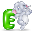 Cartoon of E letter for Elephant vector image