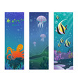 cartoon underwater sea animals vertical banners vector image vector image
