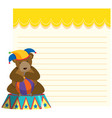 circus bear on note template vector image vector image