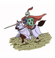 colorful medieval spear knight on horse vector image vector image