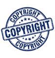copyright blue grunge round vintage rubber stamp vector image vector image