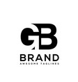 creative letter gb logo design black and white vector image vector image