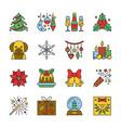 cristmas new year line icon set editable stroke vector image