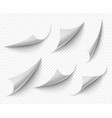 curled corners white transparent empty curve vector image