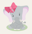 cute elephant baby with big bow vector image