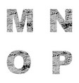 decorative letters m n o p vector image