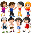 different characters of boys and girls vector image