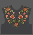 embroidery floral neckline design vector image vector image