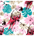 exotic summer seamless pattern flowers leaves vector image