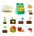 farm and agriculture cartoon icons in set vector image vector image