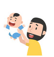 father holding up a baby vector image vector image