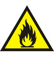 fire warning sign on white background vector image vector image