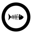 fish sceleton black icon in circle vector image vector image