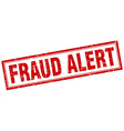 fraud alert red grunge square stamp on white vector image vector image