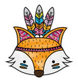 grated cute fox head animal with feathers vector image vector image