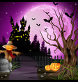 halloween background with scarecrow and pumpkins vector image