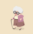 happy grandmother going out for a walk vector image