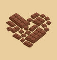 heart milk chocolate bar vector image vector image