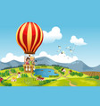 kids riding hot air balloon vector image