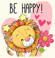 lion with hearts and a flower vector image vector image