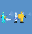 mans edical scientists in chemical protection suit vector image vector image