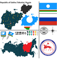 Map of Republic of Sakha vector image vector image