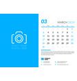 march 2019 desk calendar design template with vector image