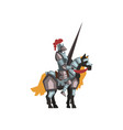 medieval knight riding horse holding striped lance vector image vector image