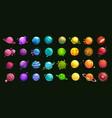 mega huge pack fantasy cartoon colorful planets vector image