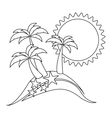 monochrome contour with beach with starfish vector image vector image