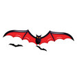 on white background of black and red scary bats vector image vector image