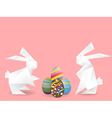 paper rabbits with easter eggs vector image