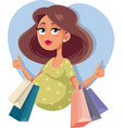 pregnant girl with shopping bags vector image vector image