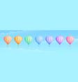 rainbow color hot air balloon travel adventure set vector image vector image