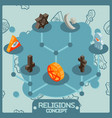 religions color isometric concept icons vector image vector image