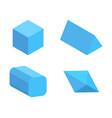 set four blue geometric figures color banner vector image